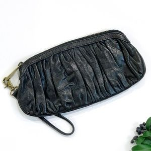 Fossil Ruched Leather Clutch Wristlet Black & Gold